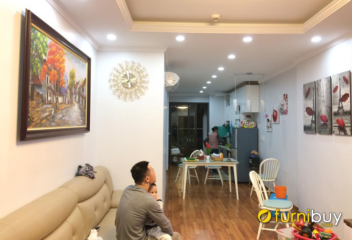 Hình ảnh Combo tranh phòng khách liền phòng ăn đẹp