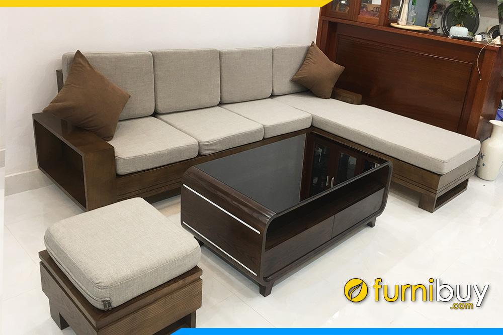 Phong khach chung cu ke sofa go tu nhien chu L hien dai FB4120