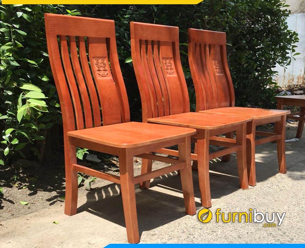 Hình ảnh ghế ăn gỗ sồi mặt liền chữ thọ BA014A