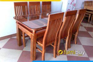 Hình ảnh bộ bàn ăn gỗ 2 tầng 6 ghế giá rẻ BA014