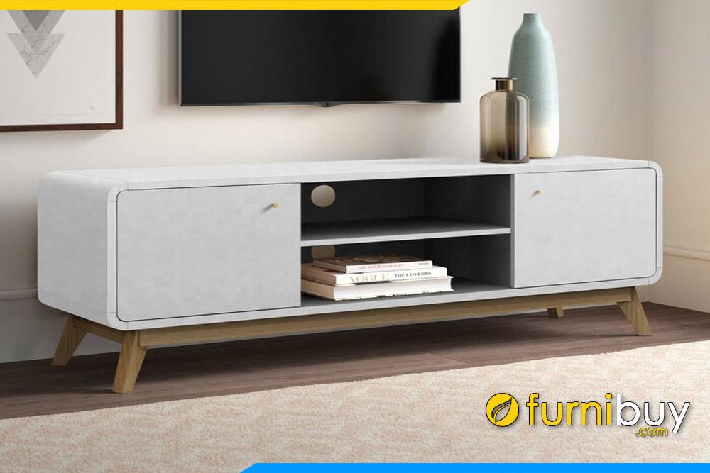 Hình ảnh Kệ tivi gỗ hiện đại màu trắng FBK106