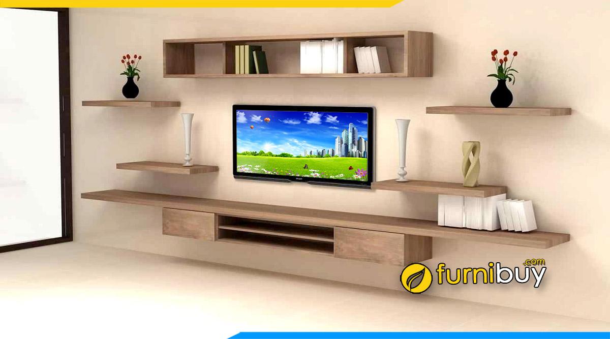 Hình ảnh Kệ tivi thông minh treo tường trang trí gỗ MDF đẹp giá rẻ