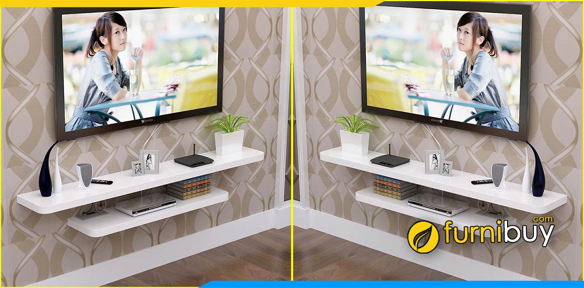 Hình ảnh Kệ tivi treo tường 2 thanh gỗ MDF công nghiệp