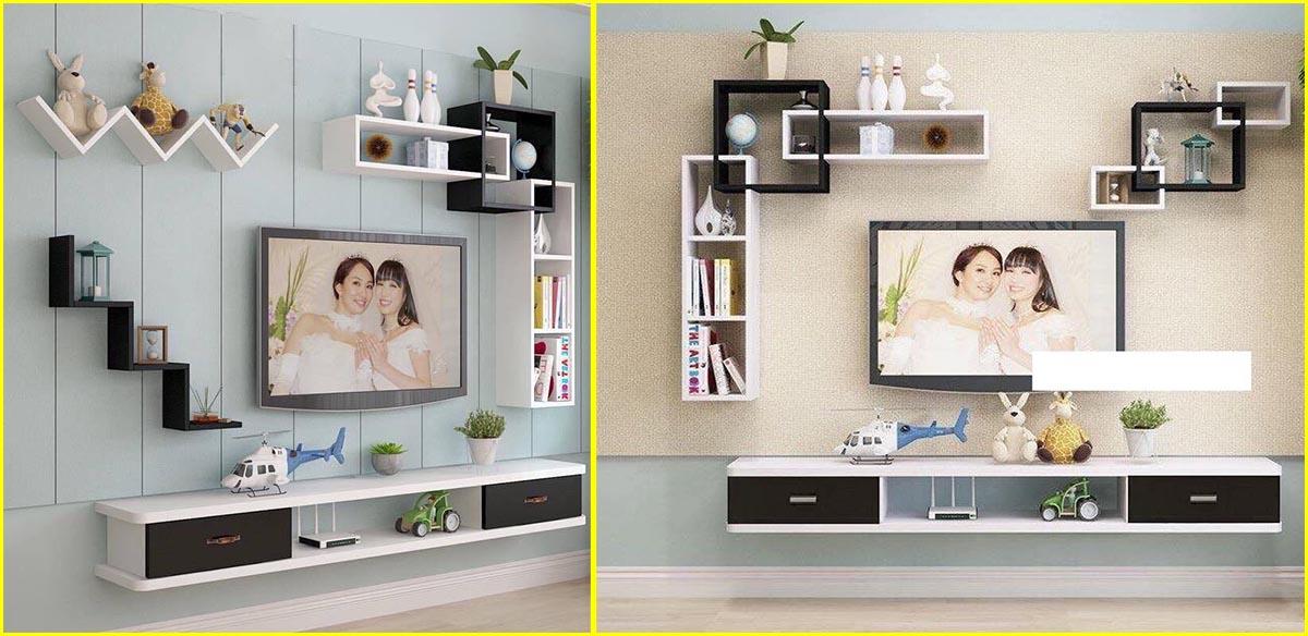 Hình ảnh Kệ treo tường dưới tivi 2 ngăn kéo trắng đen