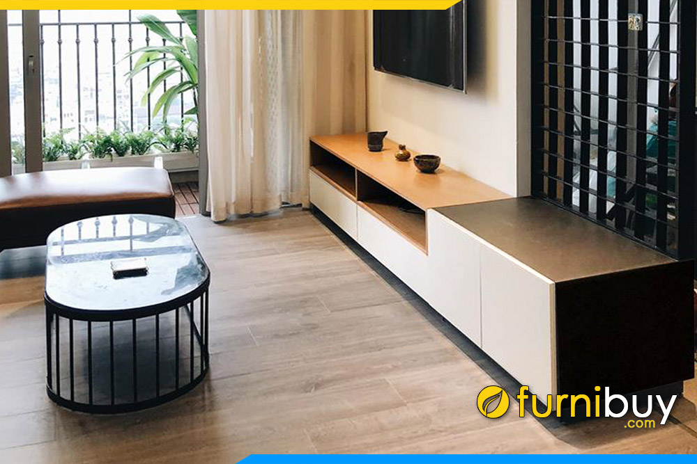 hình ảnh mẫu kệ tv phòng khách và bàn trà khung sắt đẹp 4 ngăn kéo