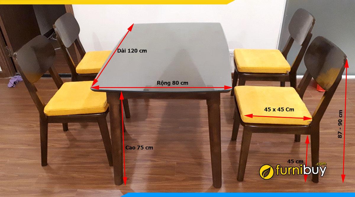 Kích thước bộ bàn ăn gỗ sồi BA031