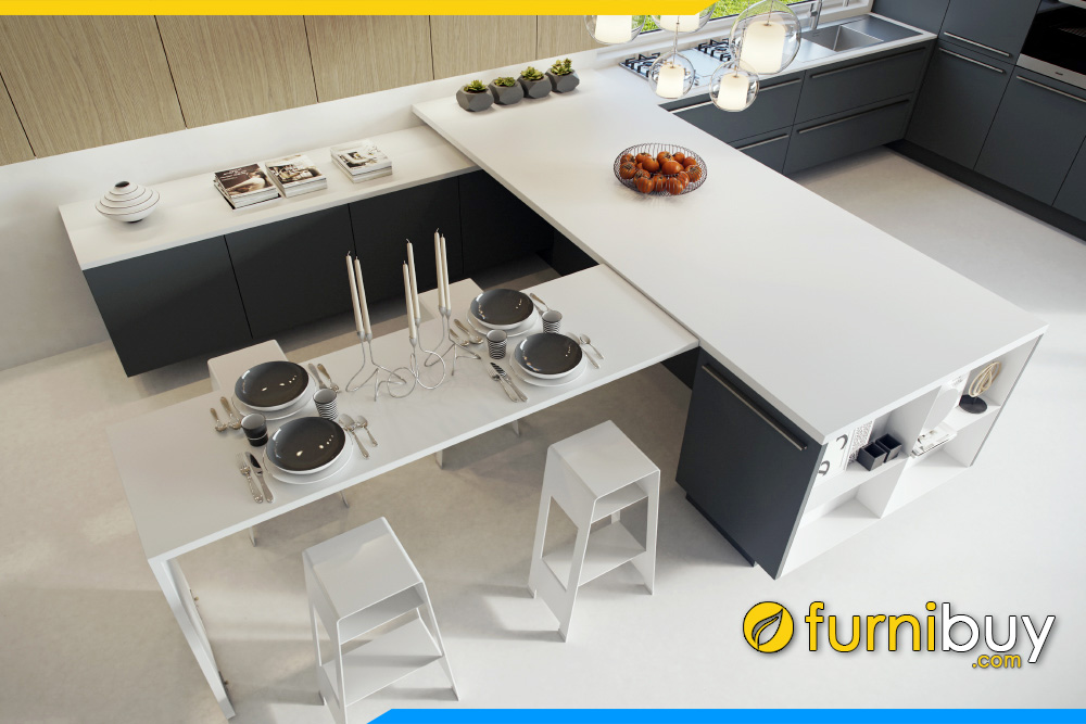 hình ảnh Mẫu bàn ăn thông minh mặt đá kết hợp tủ bếp sang trọng