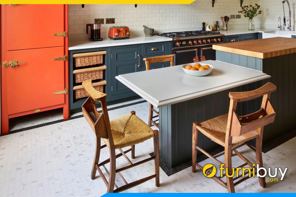 hình ảnh Mẫu bàn ăn thông minh nhỏ gọn kết hợp tủ bếp hiện đại