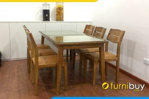 Hình ảnh Mẫu bàn ghế ăn gỗ Sồi giá rẻ BA041 thiết kế 6 chỗ ngồi