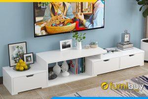 Hình ảnh Mẫu kệ tivi gỗ công nghiệp màu trắng FBK101