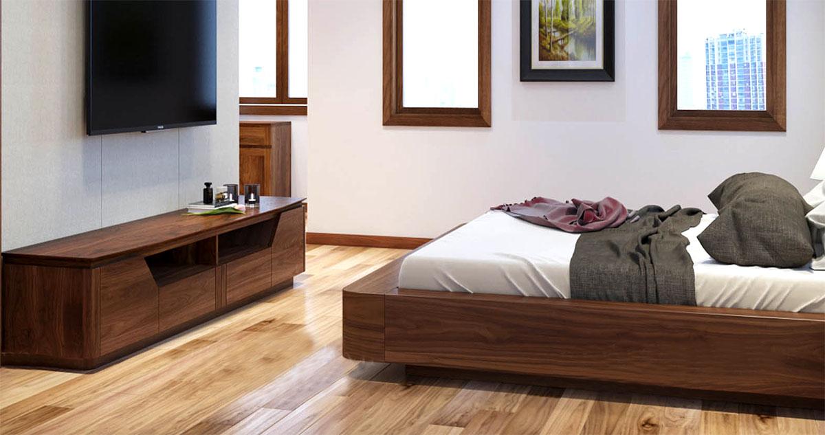 Hình ảnh Mẫu kệ tivi gỗ tự nhiên cho phòng ngủ đẹp 1m8