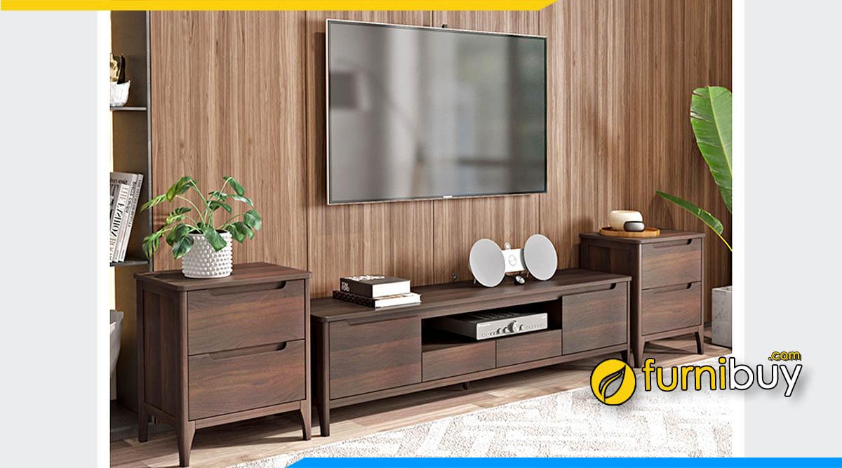 Ảnh mẫu kệ tivi phòng ngủ bằng gỗ sơn màu óc chó đẹp