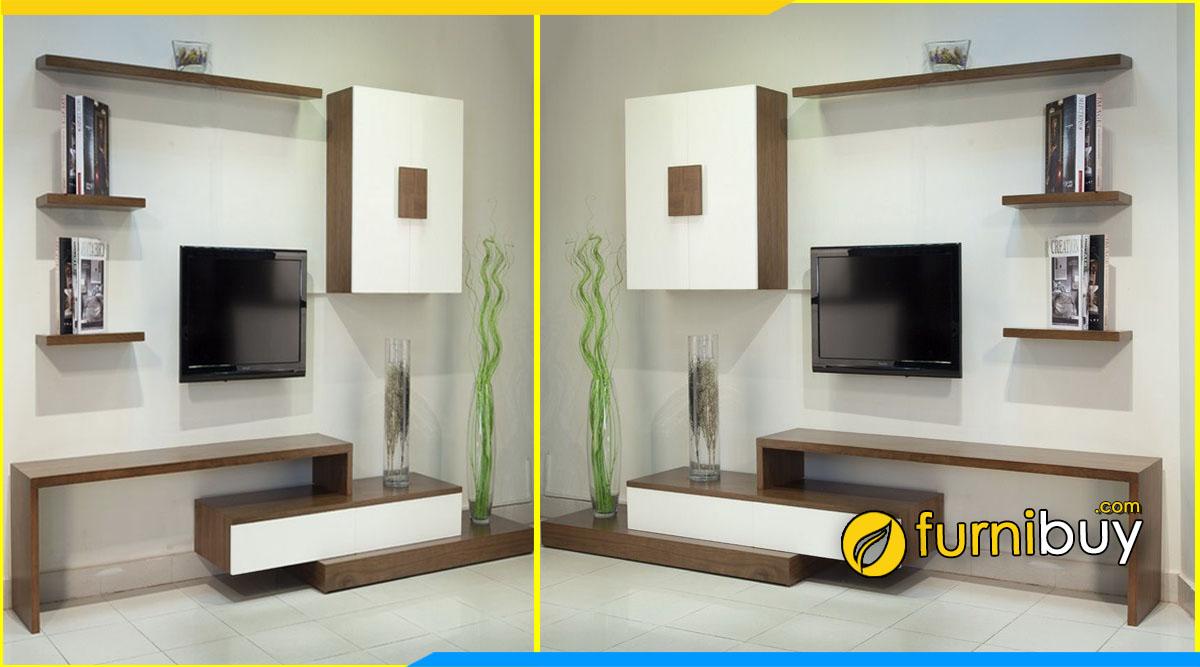 Hình ảnh Mẫu kệ tivi phòng ngủ đơn giản chữ L