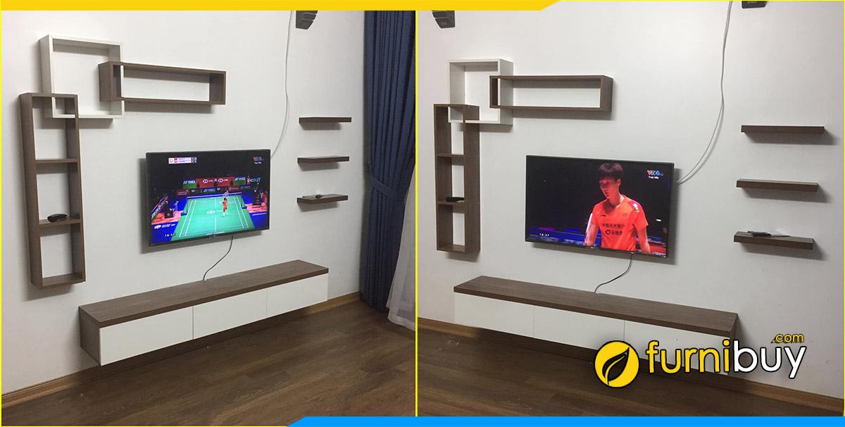 Hình ảnh Mẫu kệ tivi treo tường phòng khách đẹp tại nhà chị Hương