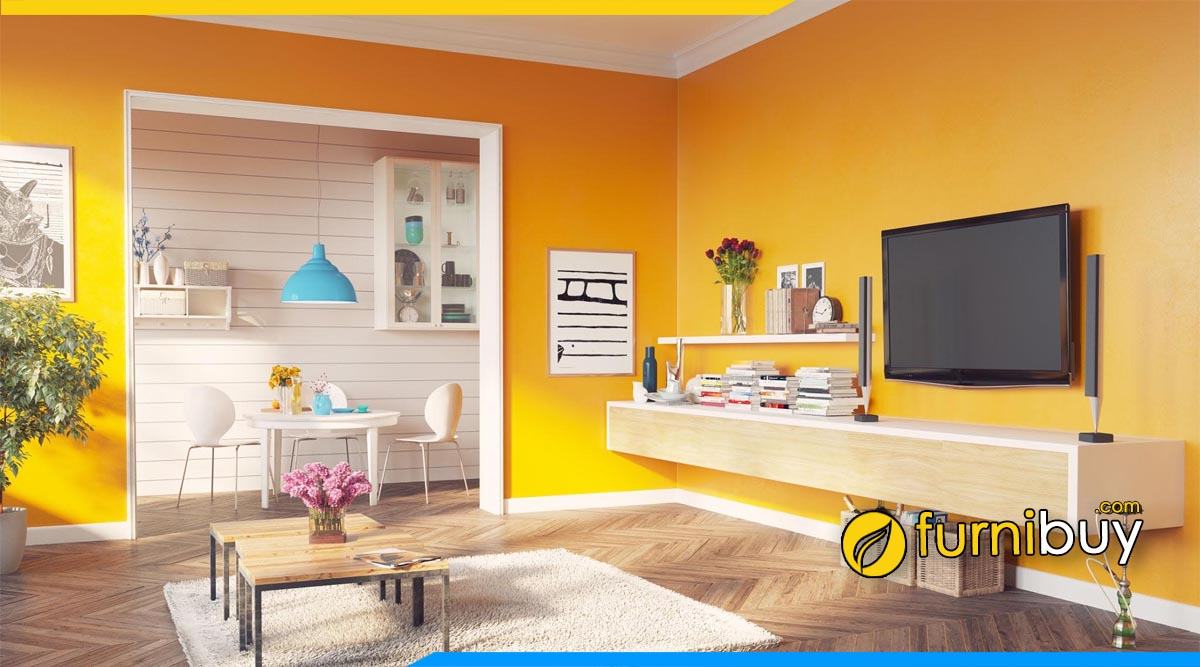 Hình ảnh Mẫu nội thất phòng khách đẹp có kệ tivi treo tường đẹp