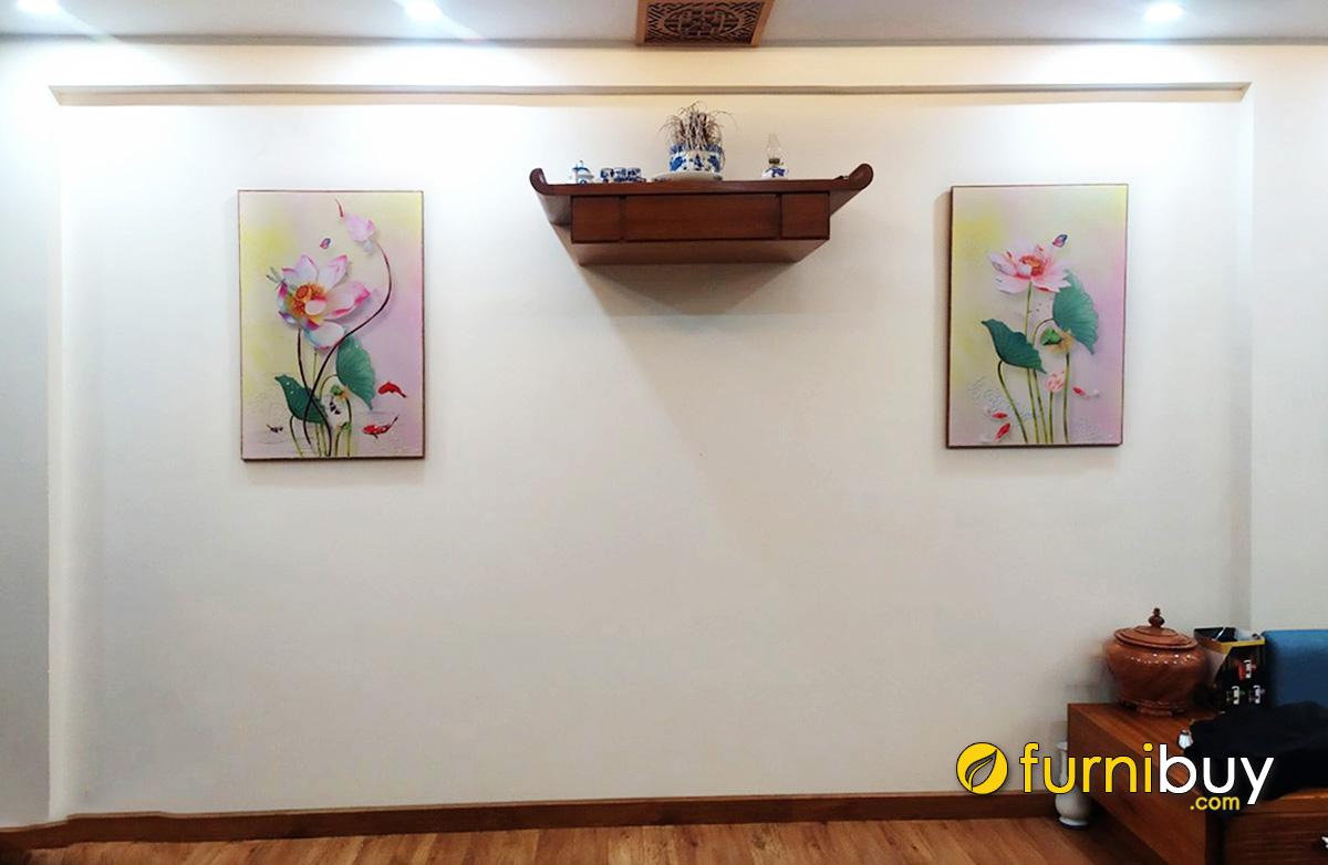 Hình ảnh Mẫu tranh treo bàn thờ gia tiên chủ đề hoa sen treo cân đối 2 bên