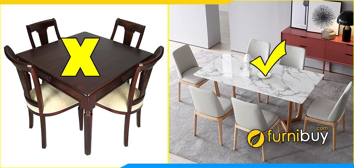 Nhược điểm của bàn ăn hình vuông