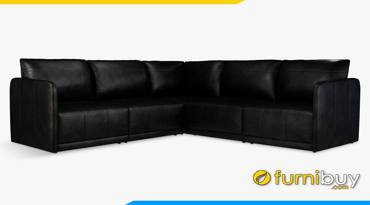 sofa goc chu v mau den boc da han dep