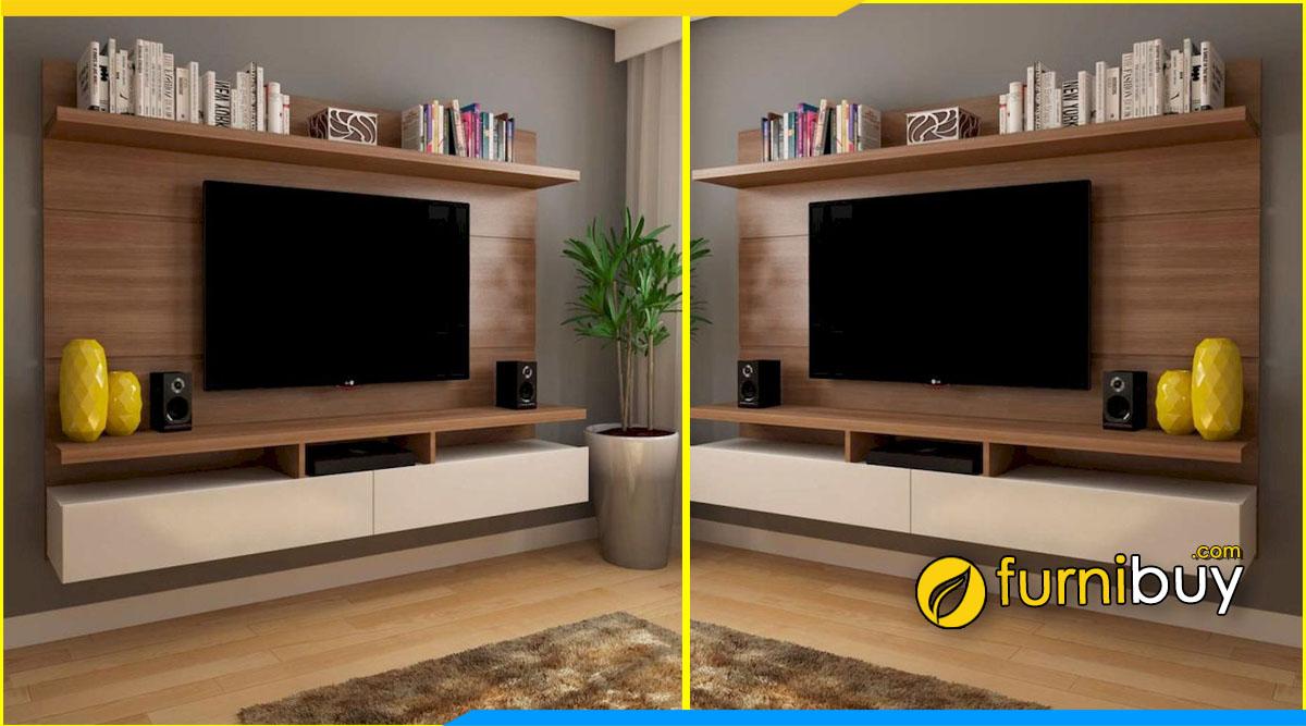 Hình ảnh kệ tivi phòng ngủ giá rẻ treo tường kết hợp giá sách