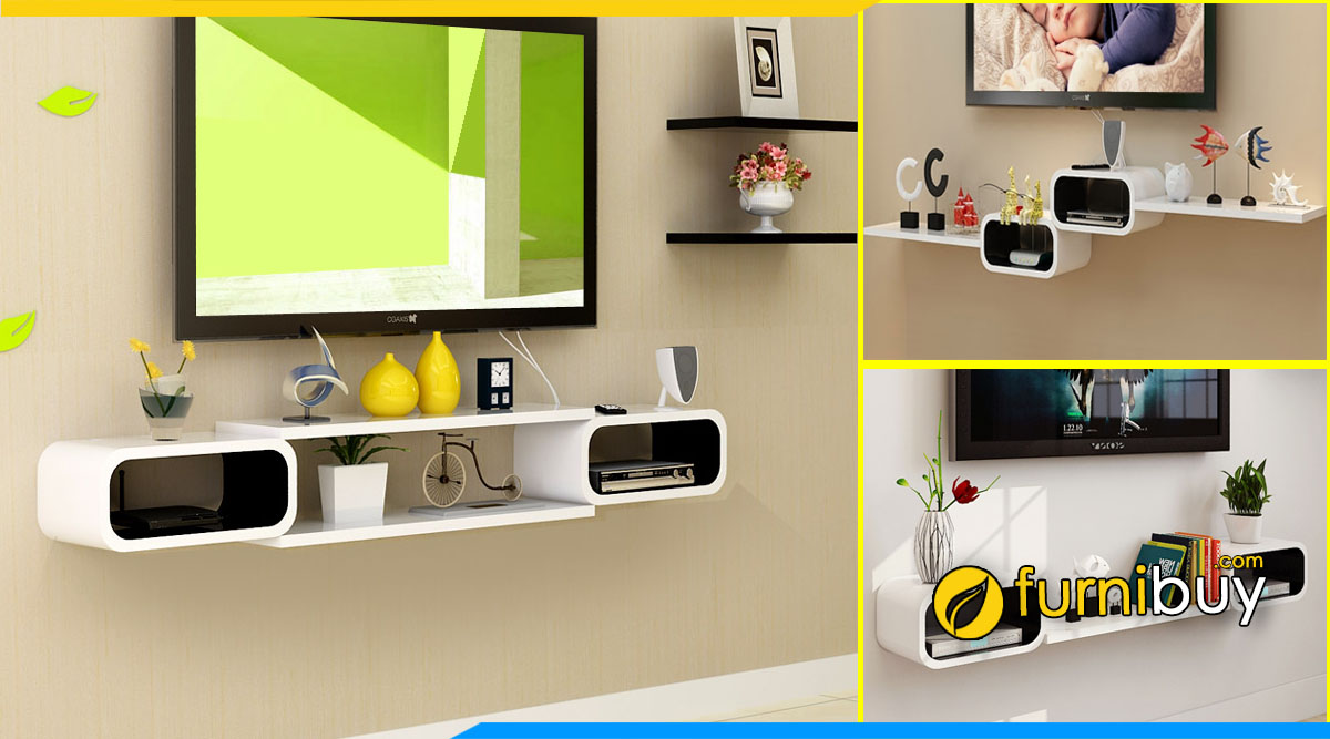 Hình ảnh kệ tivi phòng ngủ nhỏ giá rẻ 2 ngăn đen trắng đẹp