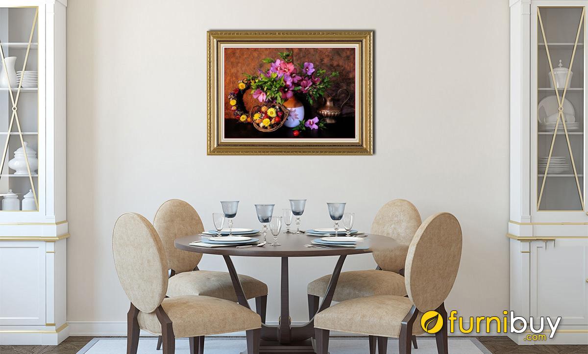 Hình ảnh Tranh bình hoa bình trà phong cách cổ điển treo phòng ăn mã 566