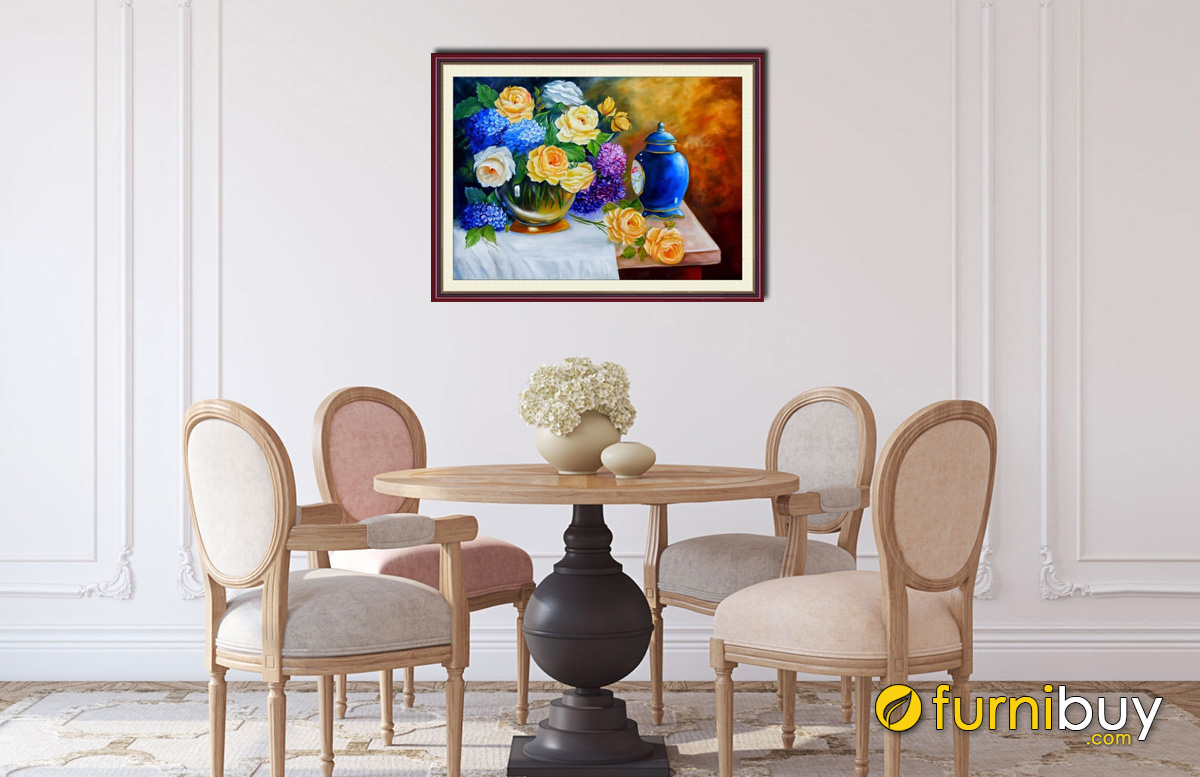Hình ảnh Tranh bình hoa cổ điển treo tường phòng bếp bàn ăn đẹp sang trọng