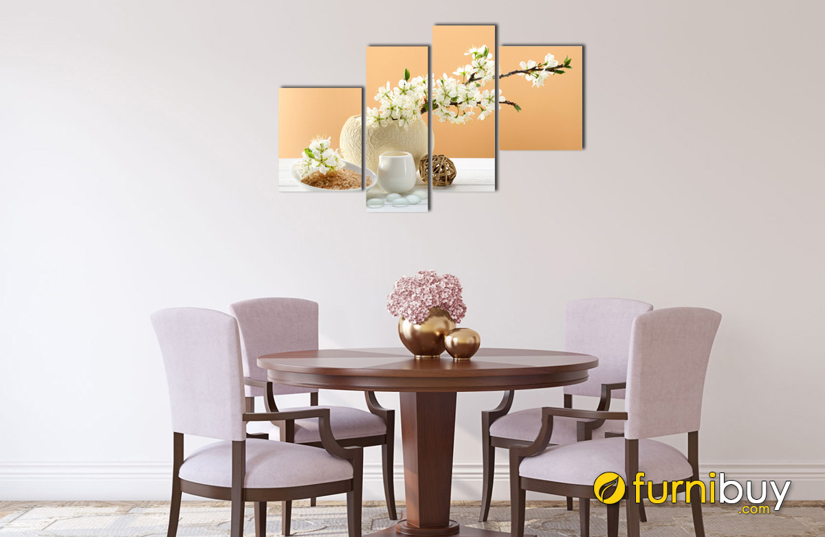 Hình ảnh Tranh bình hoa hiện đại treo tường phòng bếp bàn ăn đẹp
