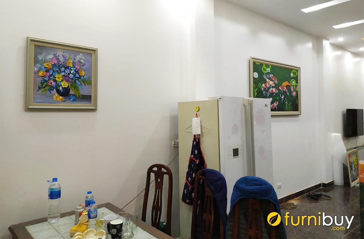 Hình ảnh Tranh bình hoa phòng ăn treo tường đẹp