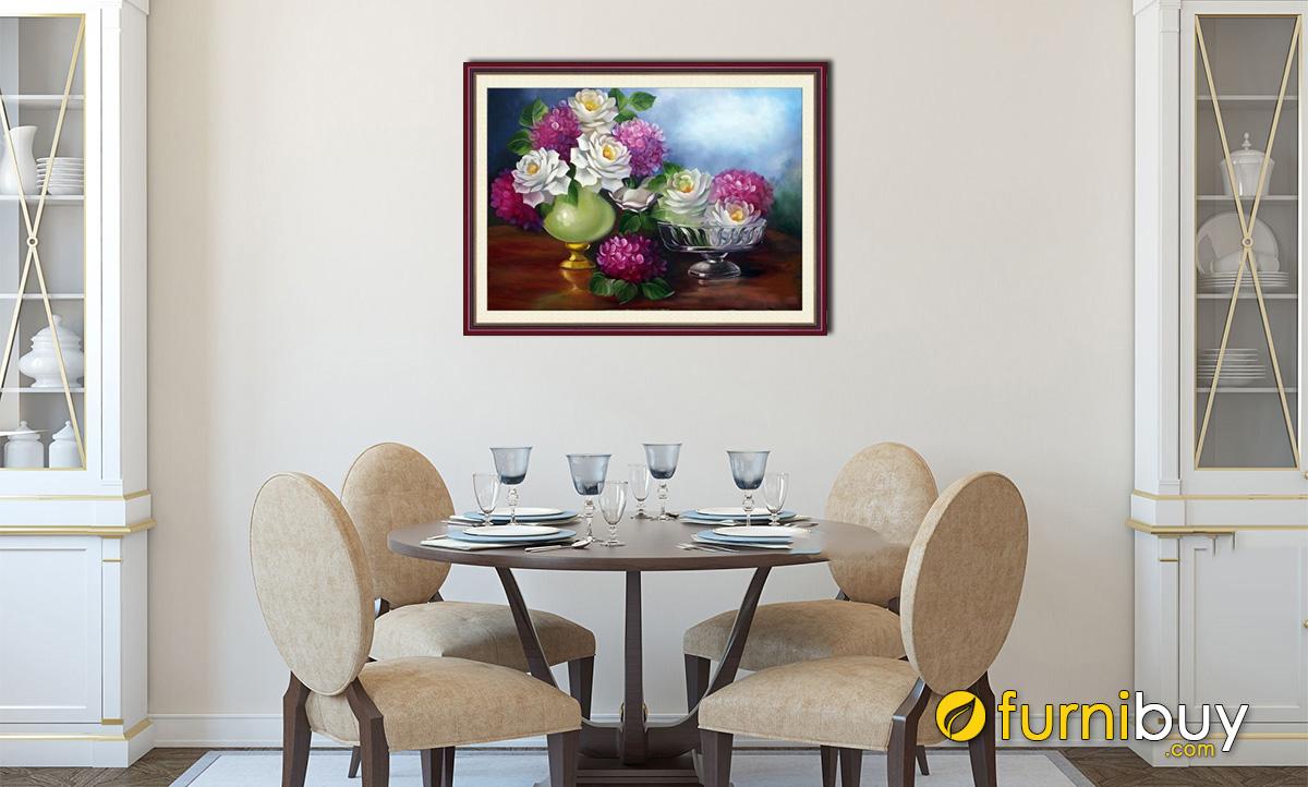 Hình ảnh Tranh bình hoa trang trí phòng ăn đẹp phong cách cổ điển mã 726