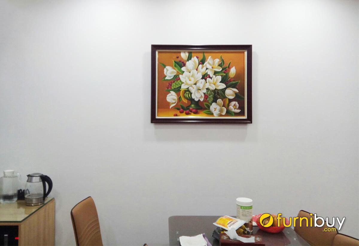 Hình ảnh Tranh bình hoa treo phòng ăn đẹp sang trọng