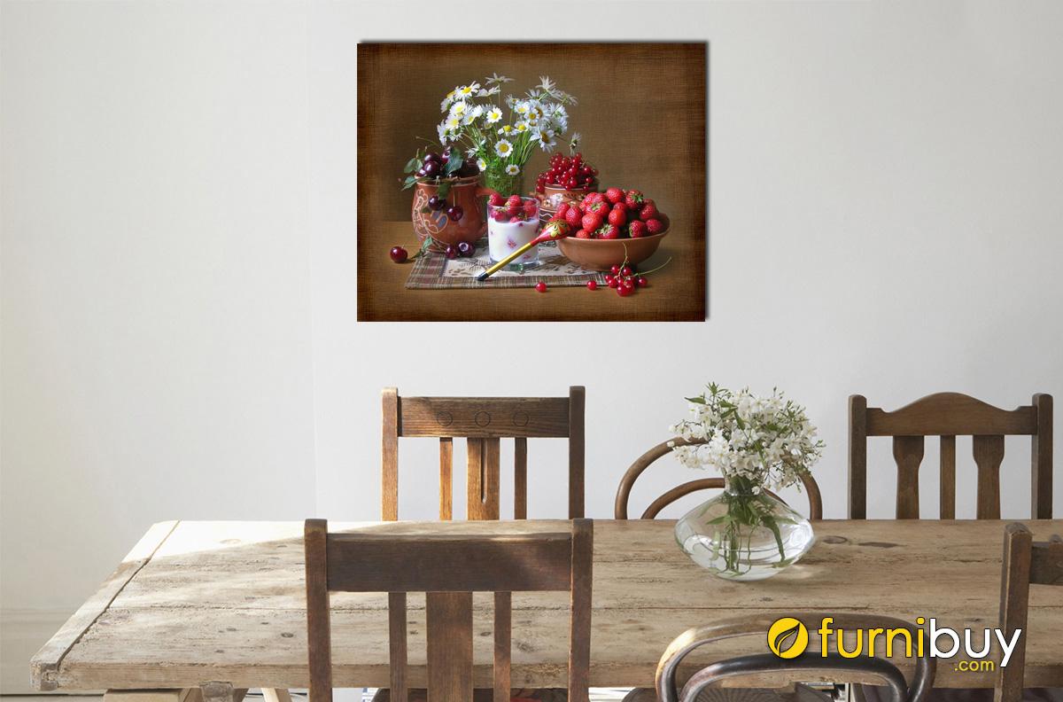 Hình ảnh Tranh bình hoa và quả treo tường phòng ăn cổ điển sang trọng mã 580