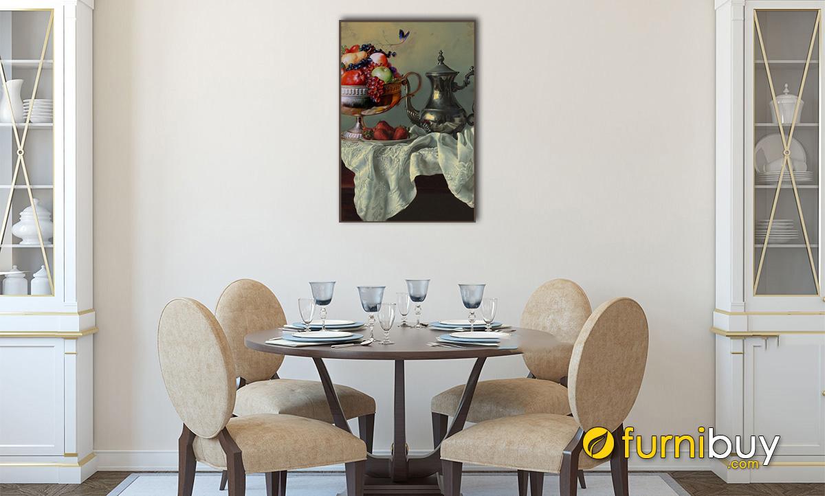 Hình ảnh Bức tranh bình hoa và đĩa quả đầy đặn treo phòng ăn đẹp