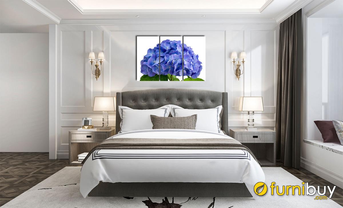 Hình ảnh Tranh bông hoa cẩm tú cầu treo tường phòng ngủ mệnh Mộc đẹp