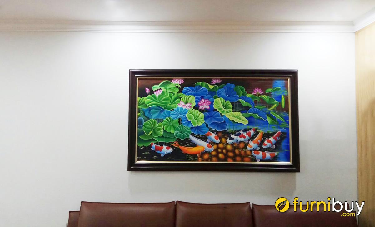 Hình ảnh Tranh cá chép treo tường phòng khách đẹp ý nghĩa