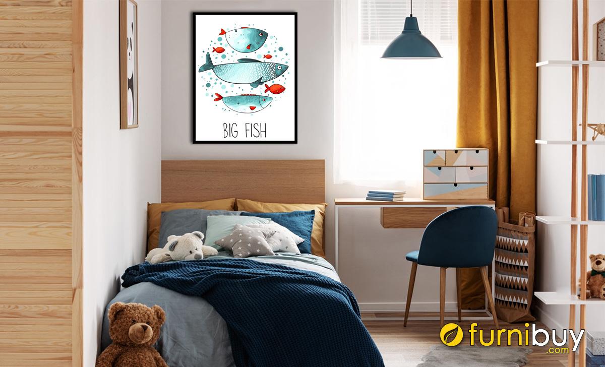 Hình ảnh Tranh cá treo phòng ngủ em bé mệnh Mộc mã 1487