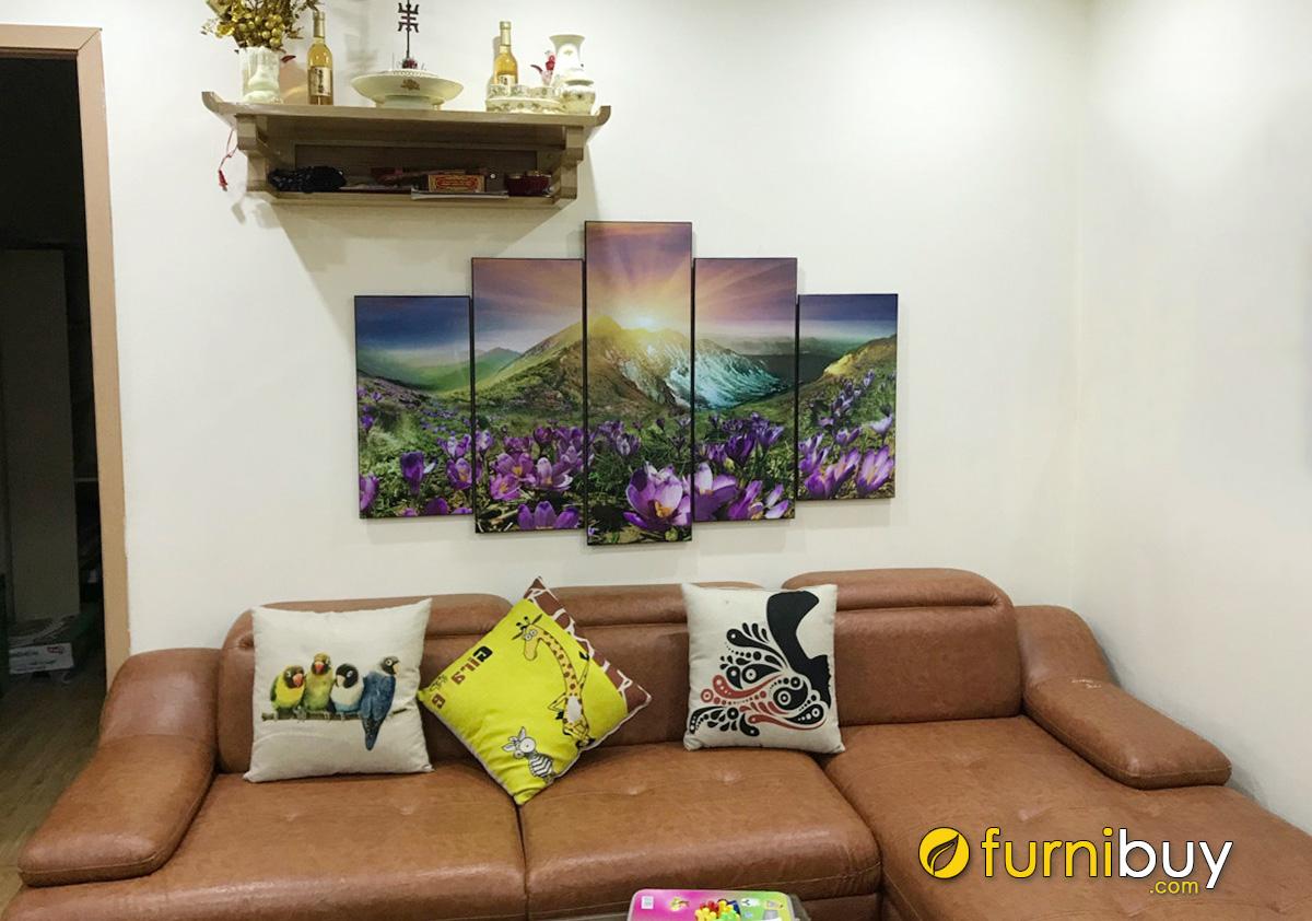 Hình ảnh Tranh phong cảnh đẹp nhẹ nhàng treo bàn thờ phòng khách