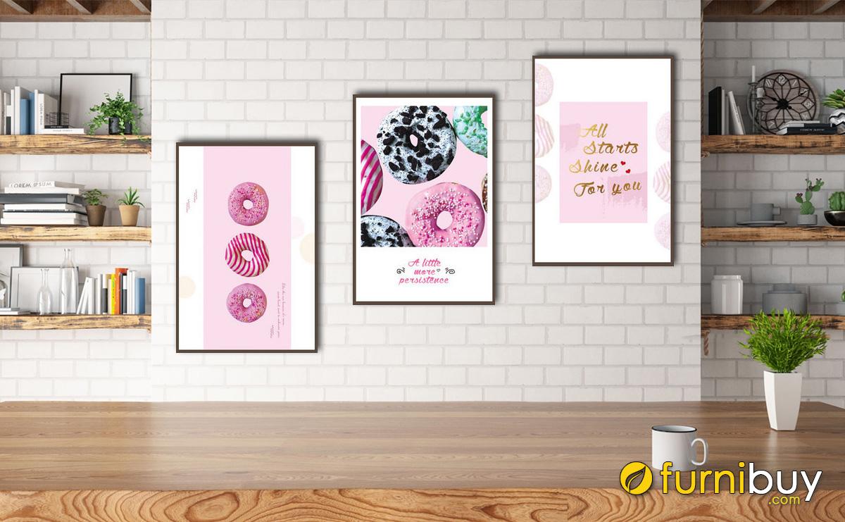 Hình ảnh Tranh canvas treo phòng ăn đẹp hiện đại ghép bộ 3 tấm