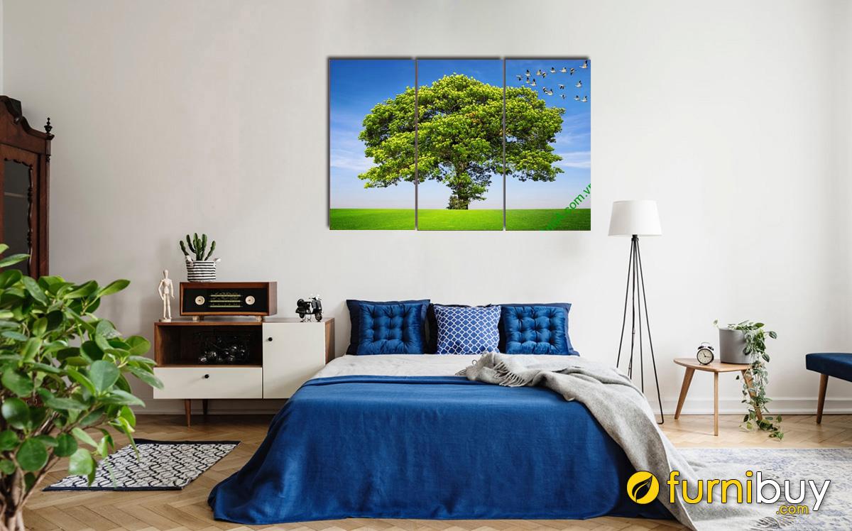 Hình ảnh Tranh cây cối hợp phong thủy mệnh Mộc treo phòng ngủ mã 358