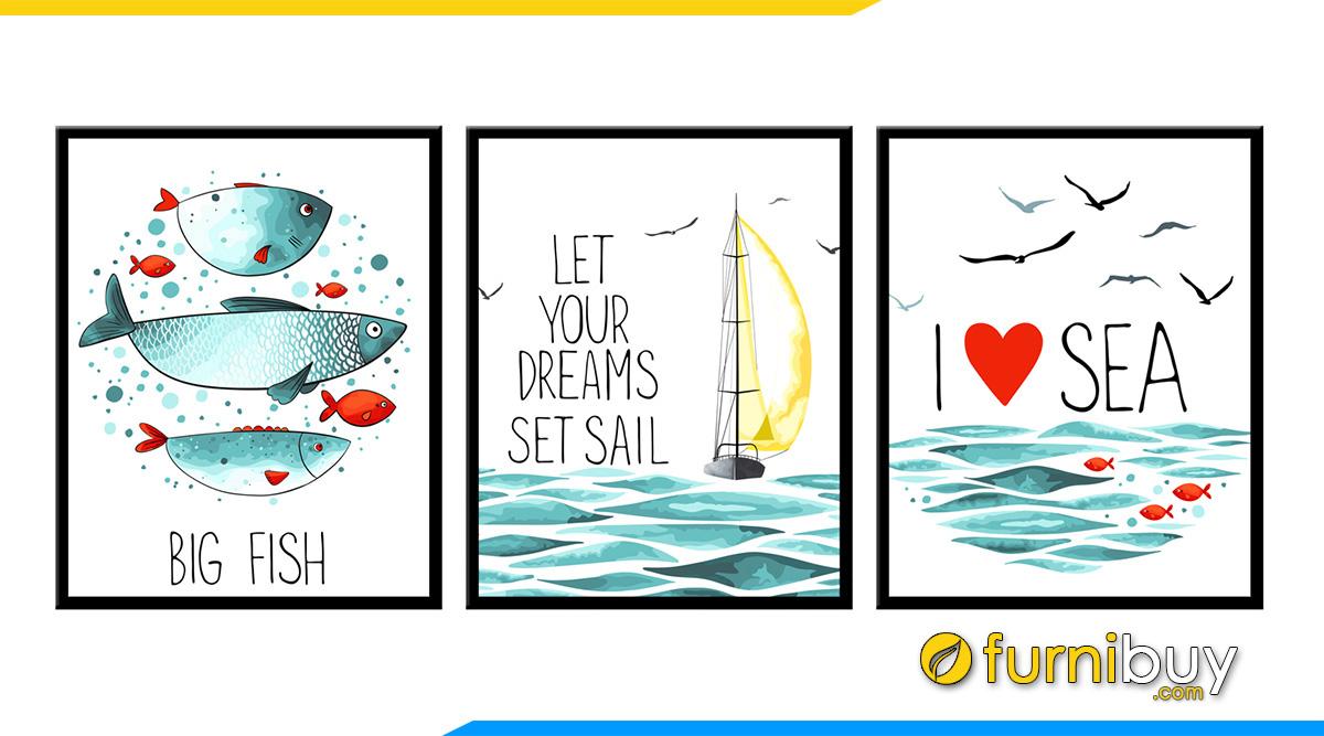 Hình ảnh Tranh chủ đề biển cả cho phòng ngủ trẻ em mệnh Mộc