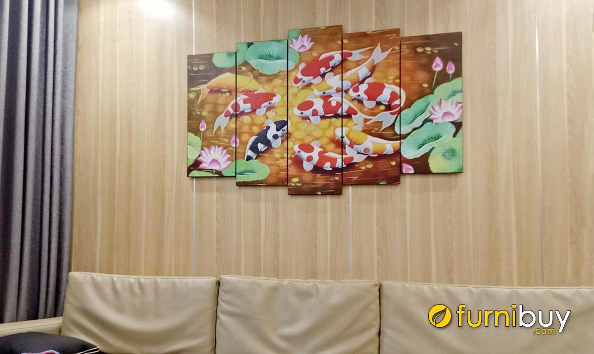 Hình ảnh Tranh cửu ngư quần hội treo tường phòng khách đẹp