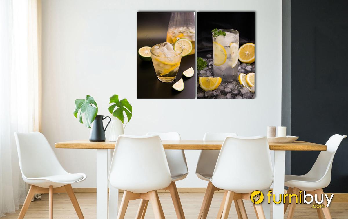 Hình ảnh Tranh đồ uống treo phòng ăn hiện đại ghép bộ 2 tấm