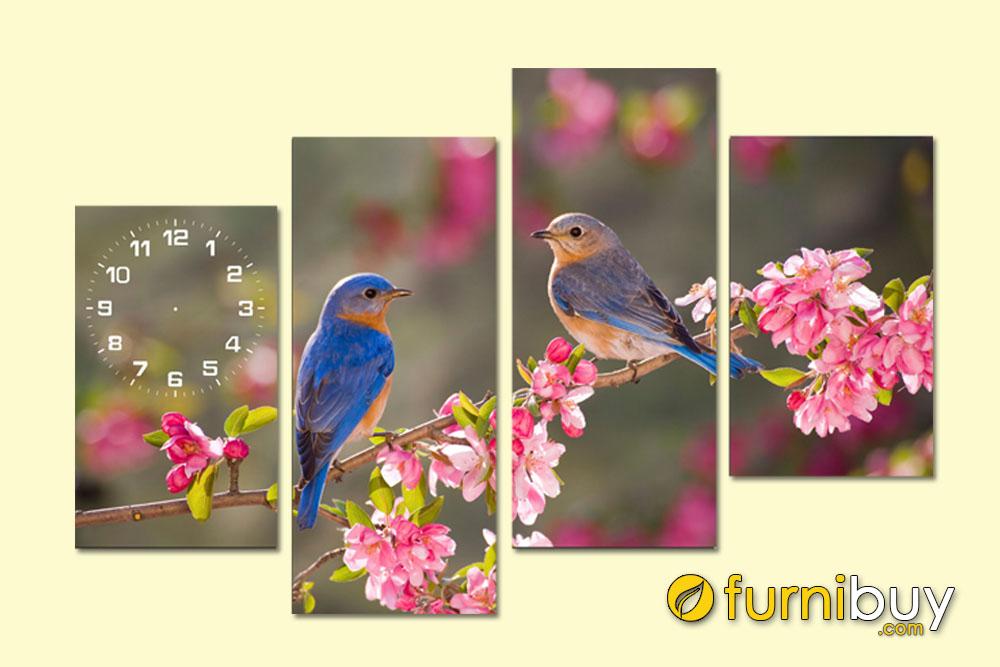 Tranh ghép bộ 4 tấm đôi chim trên cành đào đẹp AmiA 205