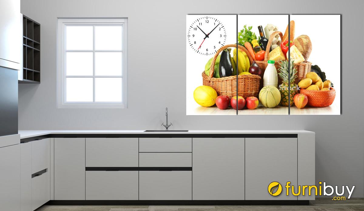 Hình ảnh Tranh giỏ đồ ăn treo tường phòng bếp đẹp mã 448