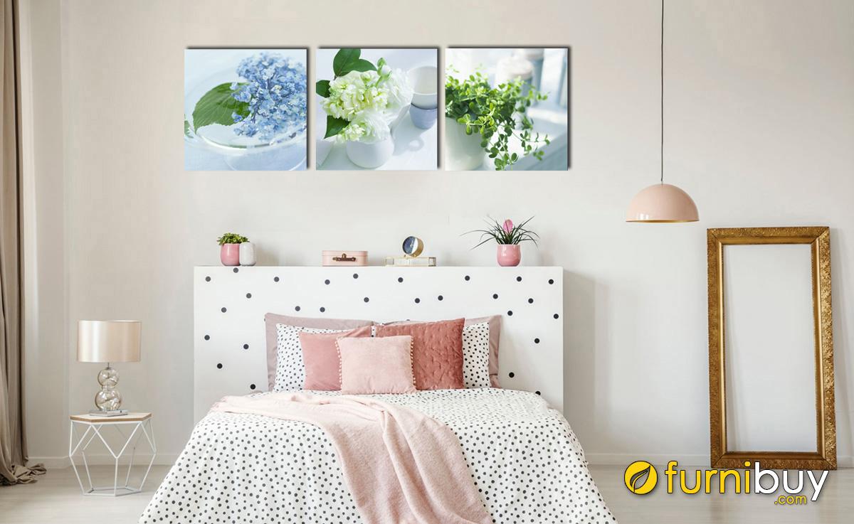 Hình ảnh Tranh hoa cẩm tú cầu màu xanh đẹp treo phòng ngủ cho người mệnh Mộc 1142