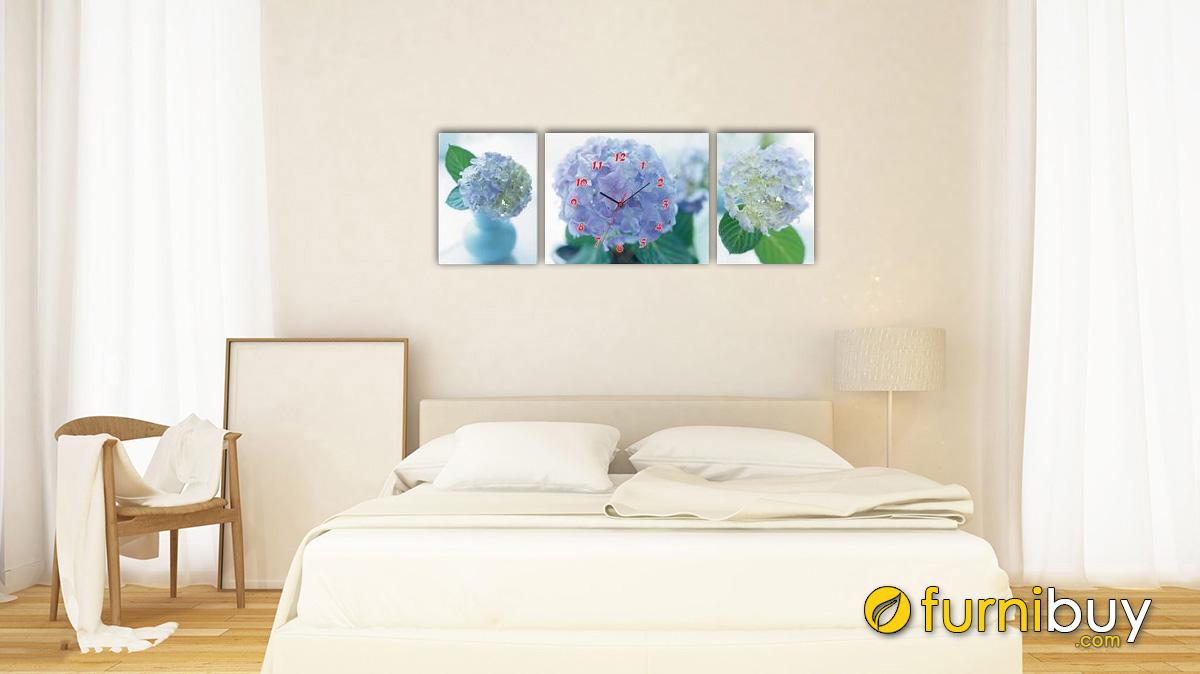 Hình ảnh Tranh hoa cẩm tú cầu sắc xanh treo phòng ngủ mệnh Mộc mã 544