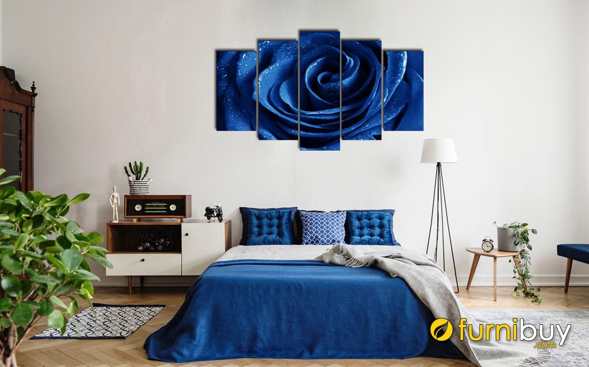 Hình ảnh Tranh hoa hồng xanh ghép bộ treo phòng ngủ hợp mệnh Mộc mã 1440