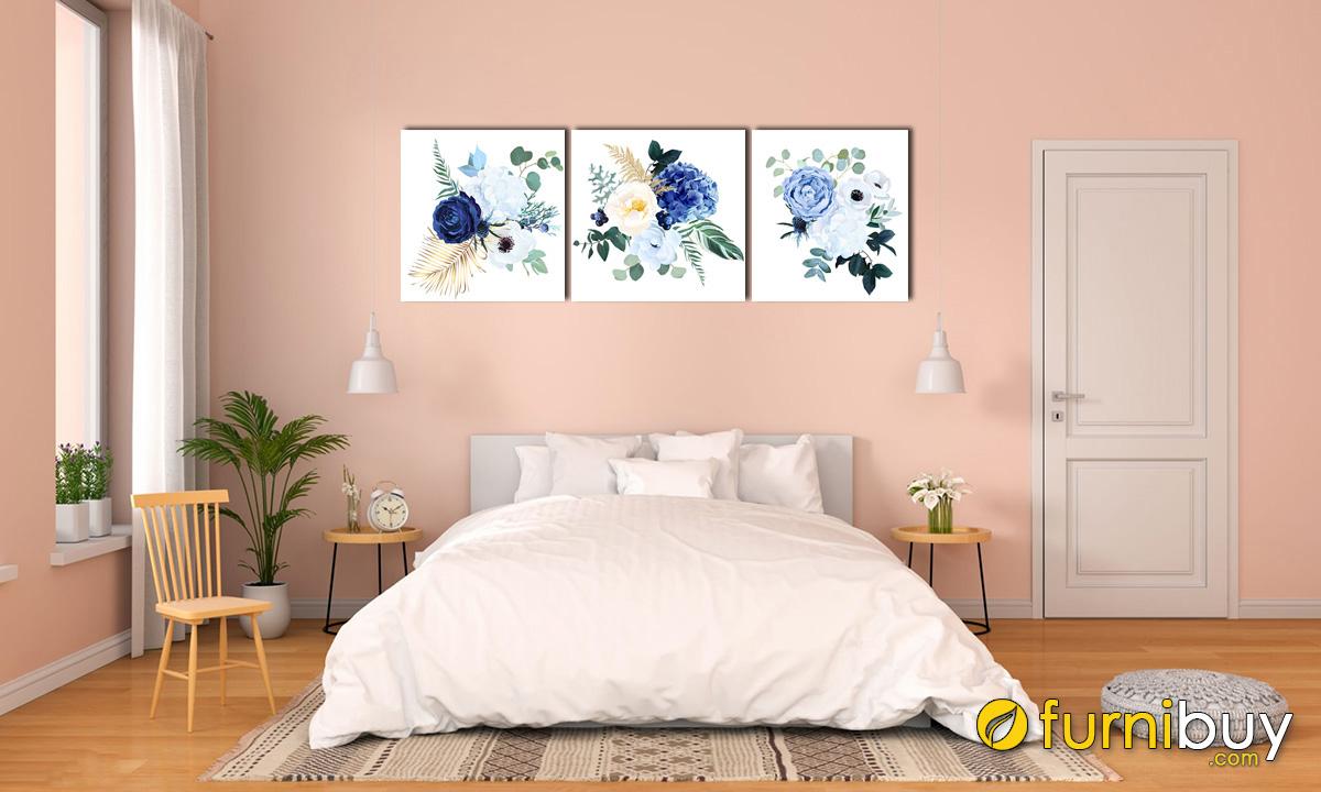 Hình ảnh Tranh hoa hồng xanh trang trí phòng ngủ cho mệnh Mộc hút lộc