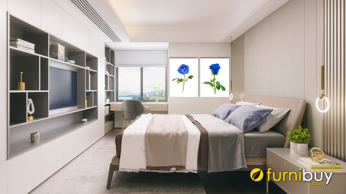 Hình ảnh Tranh hoa hồng xanh treo phòng ngủ người mệnh Mộc