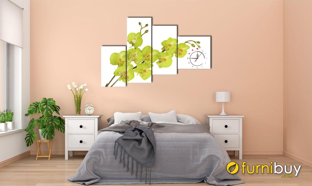 Hình ảnh Tranh hoa lan xanh cho phòng ngủ mệnh Mộc đẹp mã 260