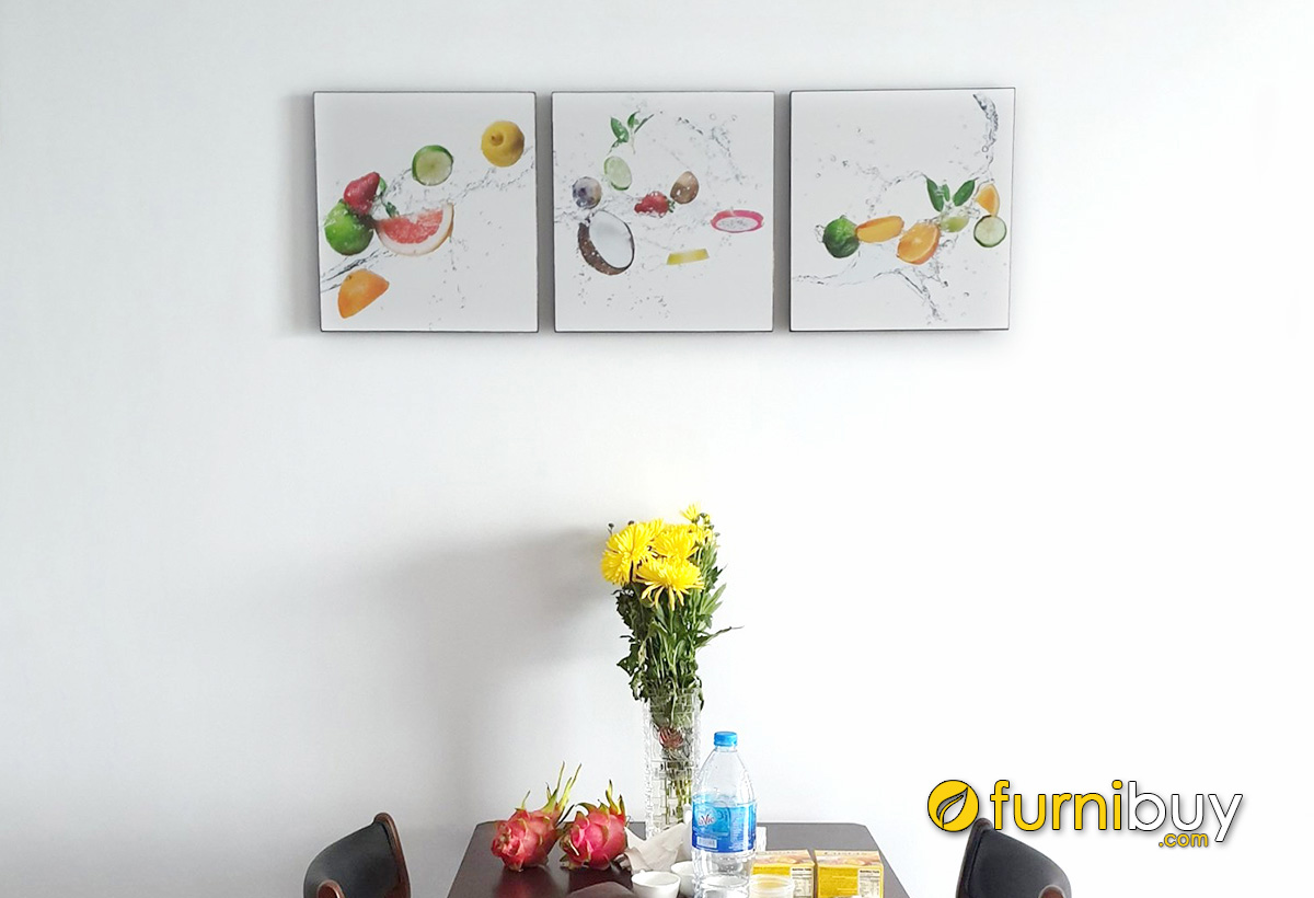 Hình ảnh Tranh hoa quả trang trí phòng ăn đẹp hiện đại ghép bộ 3 tấm